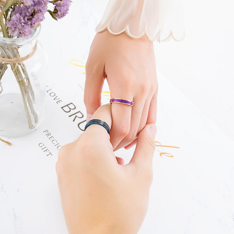 Unique Blue & Rose Gold Two-tone Black&Purple Heart Beats Promise Rings for Couples