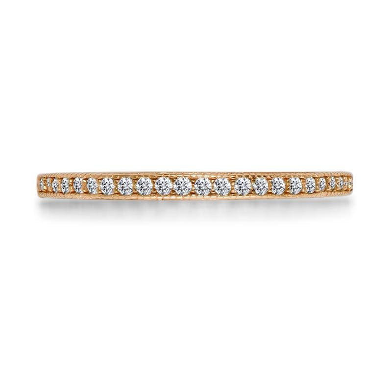 1/5 CT. Round Diamond Stackable Rose Gold Anniversary Band in Sterling Silver ALLBIZIA