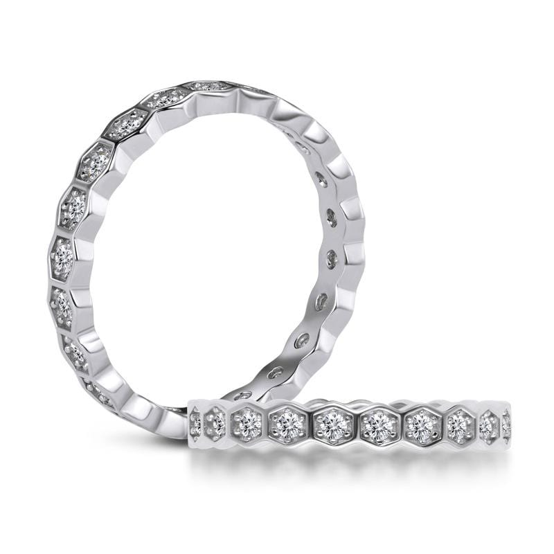 0.51 CT. Diamond Hexagon Stackable Eternity Wedding Band in Sterling Silver ALLBIZIA
