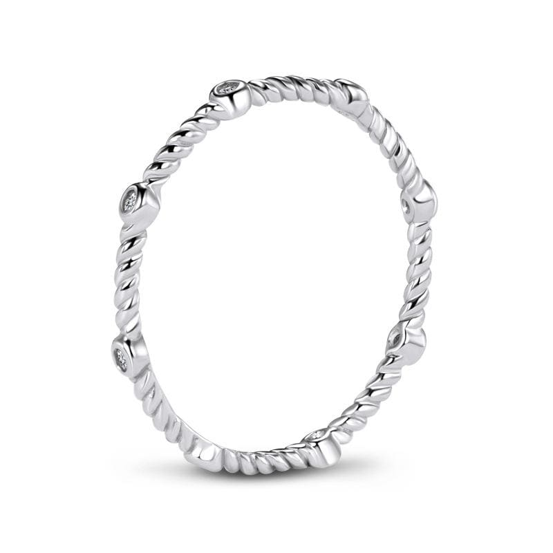 1/5 CT. Bezel-Setting Diamond Twist Shank Stackable Eternity Band in Sterling Silver ALLBIZIA
