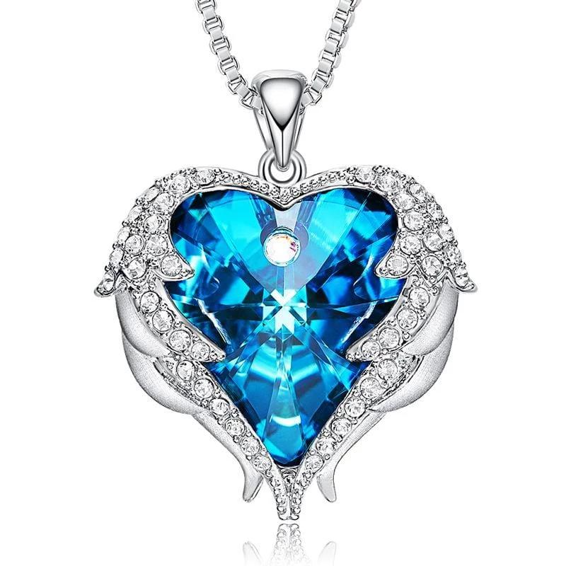 Blue Crystal Heart and Wings Necklace