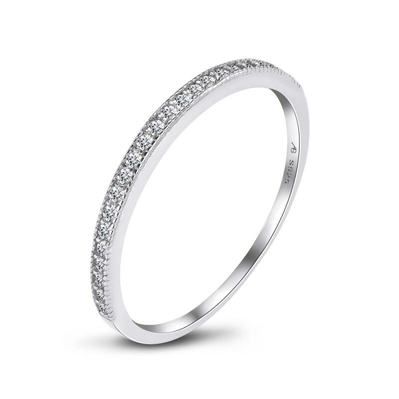 1/5 CT. Round Diamond Stackable Anniversary Band in Sterling Silver ALLBIZIA