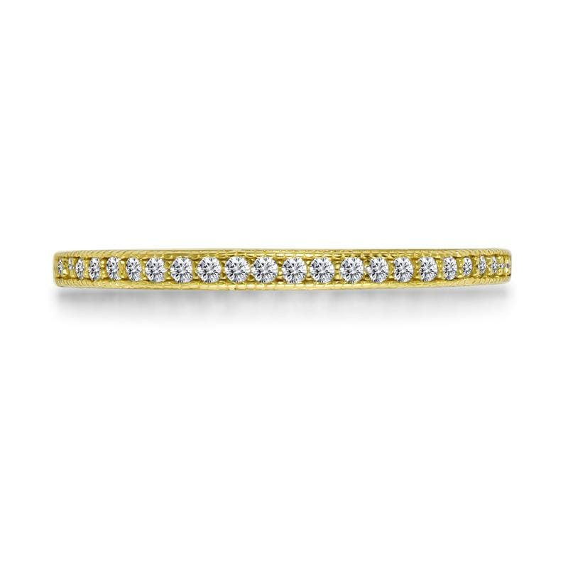 1/5 CT. Round Diamond Stackable Yellow Gold Anniversary Band in Sterling Silver ALLBIZIA
