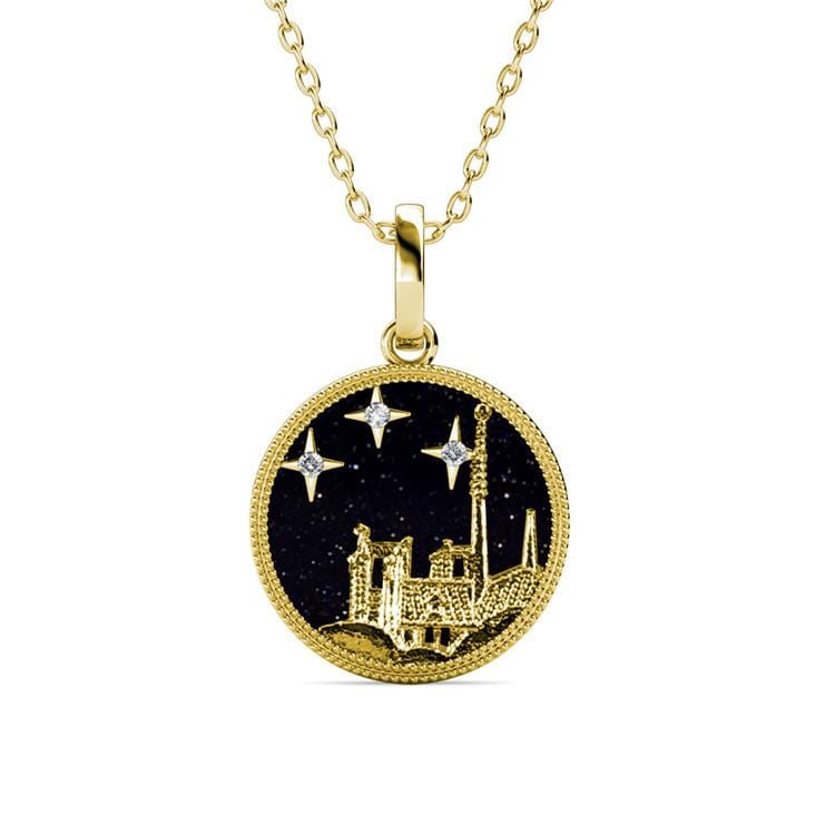 Castle and Stars Coin Necklace (4 Colors)