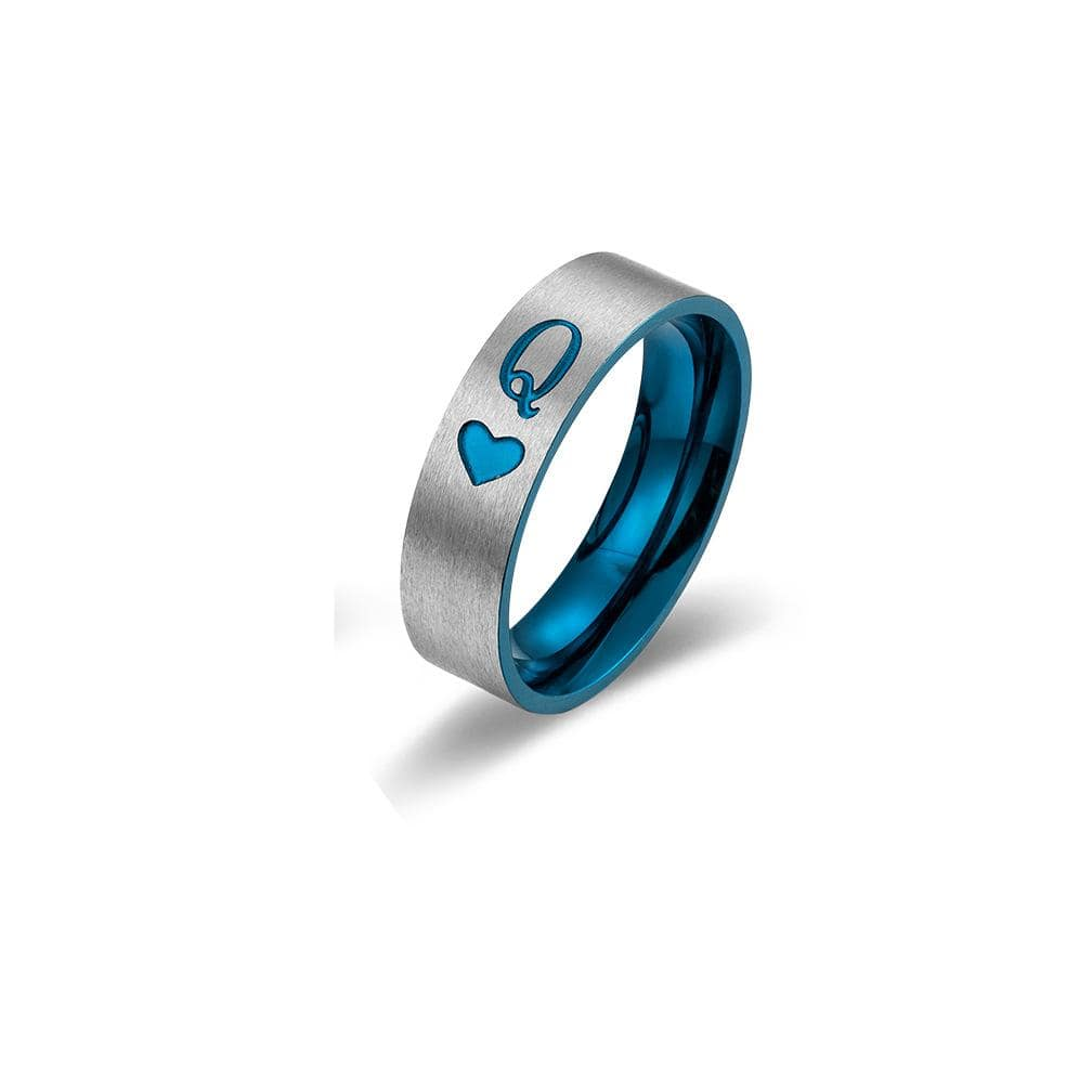 Couple's Engraving King  & Queen Promise Rings in Titanium with Blue IP