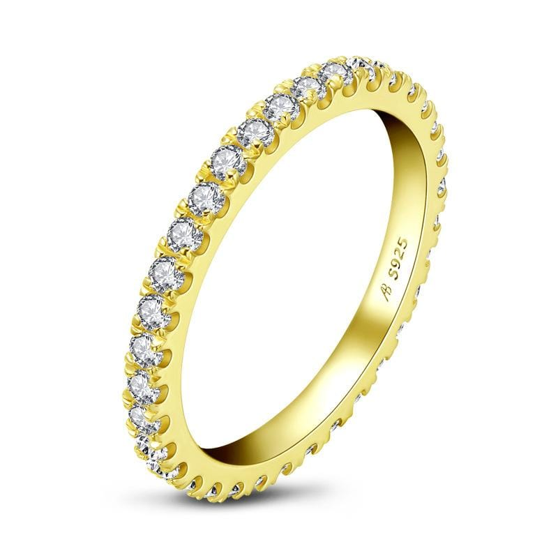 1/2 CT. Diamond Yellow-Gold Stackable Eternity Wedding Band in Sterling Silver ALLBIZIA