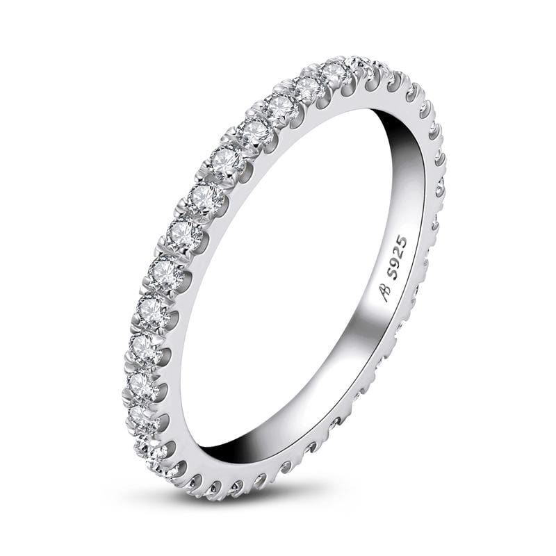 1/2 CT. Diamond Stackable Eternity Wedding Band in Sterling Silver ALLBIZIA