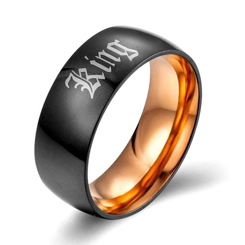 Couple's Engravable King & Queen Two-Tone Promise Rings with Black & Rose IP