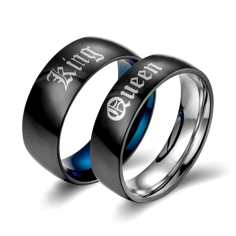 Couple's Engravable King & Queen Two-Tone Titanium Promise Rings in Black & Blue IP