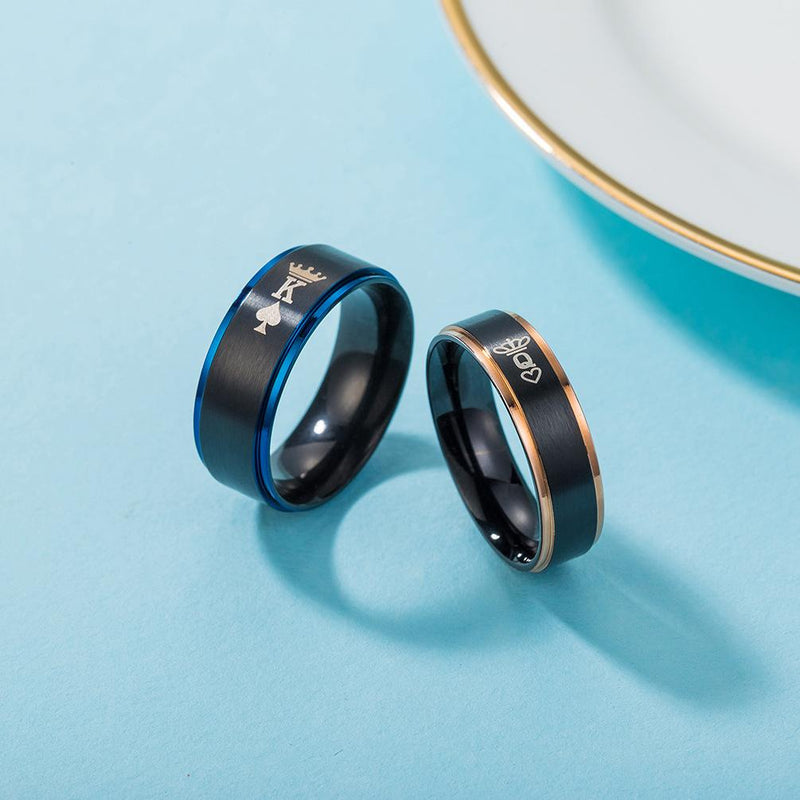 Couple's Engravable King and Queen Two-Tone Promise Ring in Titanium with Blue & Rose IP