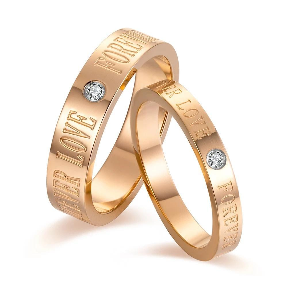 Couple's CZ Diamond Forever Love Engravable Titanium Promise Rings With Rose IP
