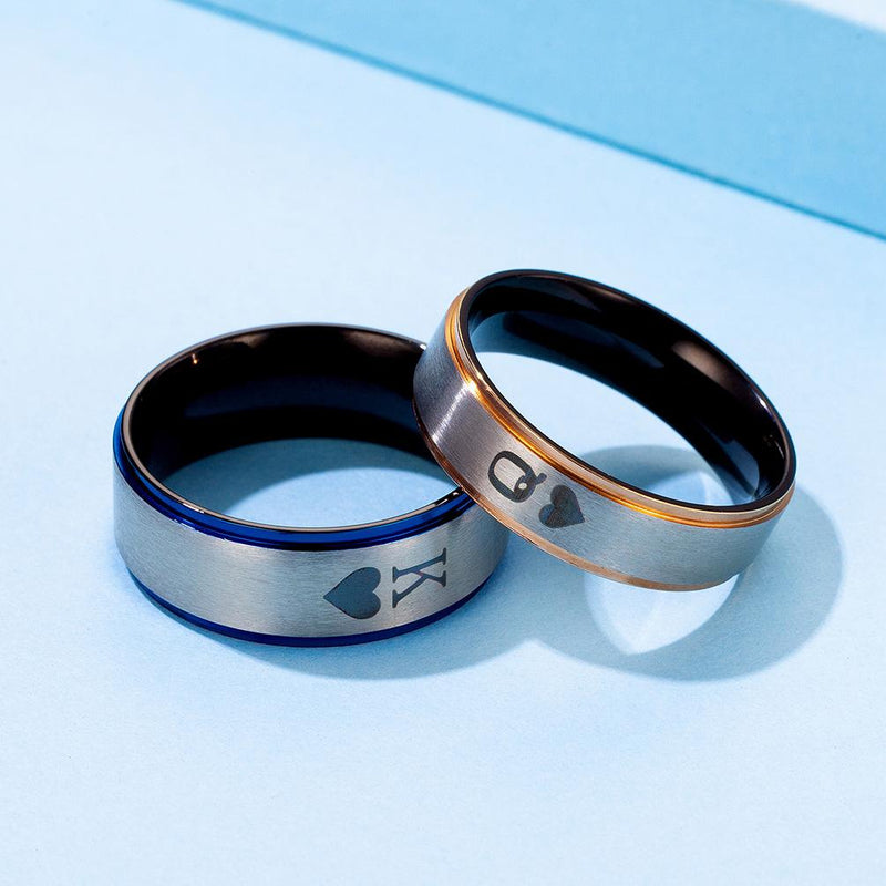 Couple's Engravable King and Queen Promise Ring in Titanium