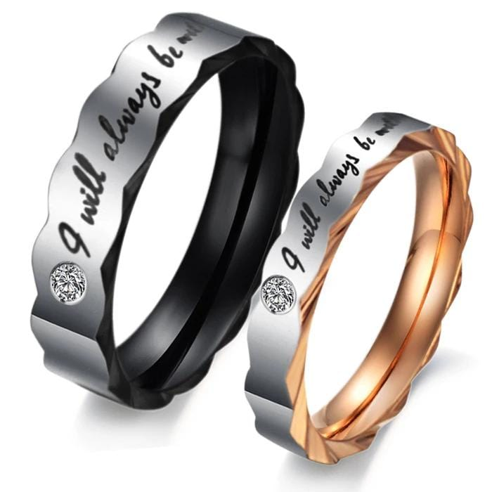 I Will Always Be With You Black and Rose Gold Plated Stainless Steel Couple Rings