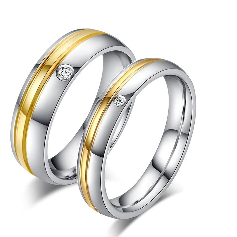 CZ Diamonds Two-tone Plated Stainless Steel Promise Rings for Couple