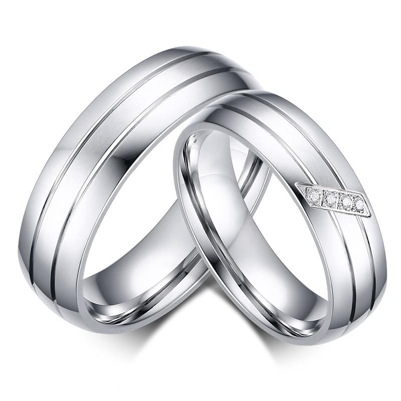 Concise 4 CZ Diamonds Stainless Steel Couple Rings