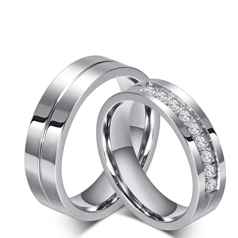Couple's 6mm Engravable Diamond Row Promise Wedding Rings in Stainless Steel