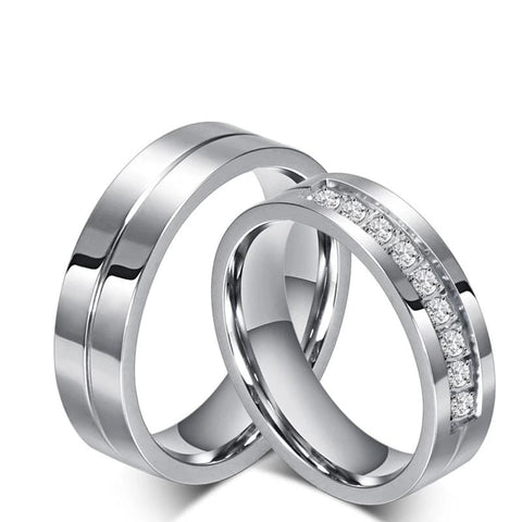 CZ Diamond Matching Heart Promise Couple Rings in Sterling Silver with Black IP