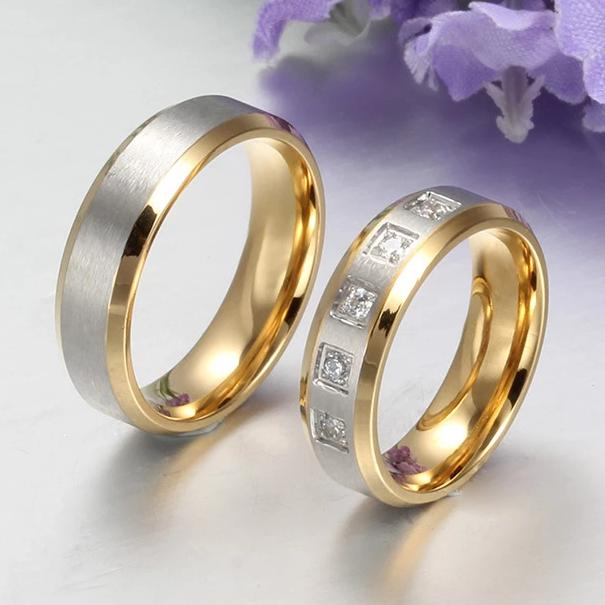 Yellow Gold with Silver Two-tone Stainless Steel Promise Rings for Couples