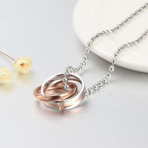 Loyal and Steadfast Endless Love Interlocking Necklaces with Rose and Black IP