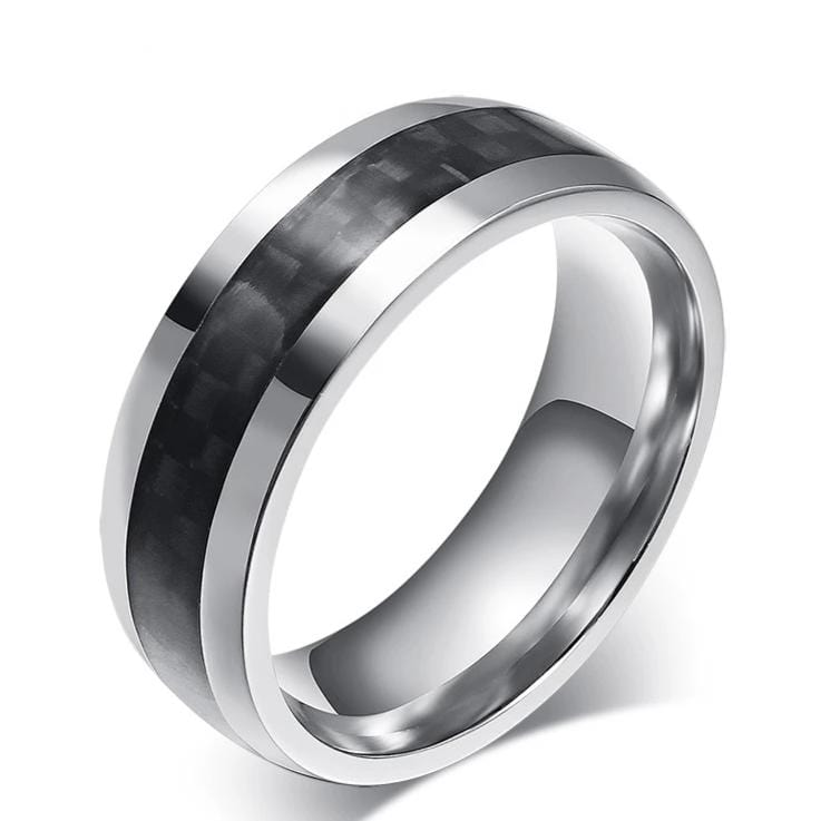 Men's 8.0mm Engravable Carbon Fiber Wedding Band in Stainless Steel