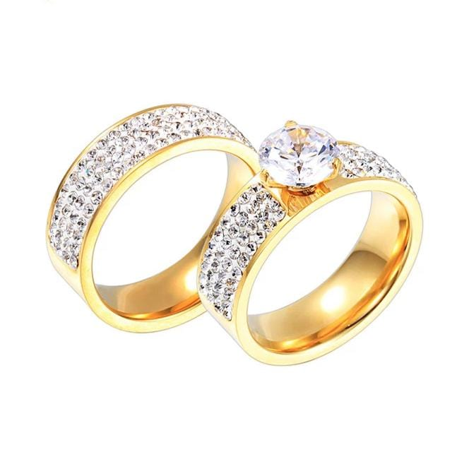Couple's 7mm Engravable Composite Design Promise Engagement Rings in Titanium with Gold IP