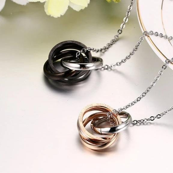 Black & Rose Diamond Three Rings Interlocking Couples Necklaces