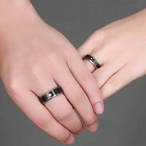 Black Titanium with Round Cut Gemstone Promise Rings for Couples
