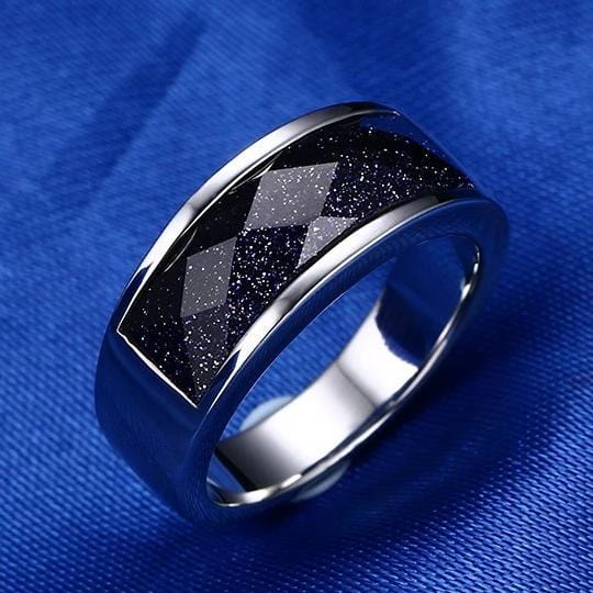 Men's 8.0mm Engravable Stainless Steel with Black Gravel Inlay