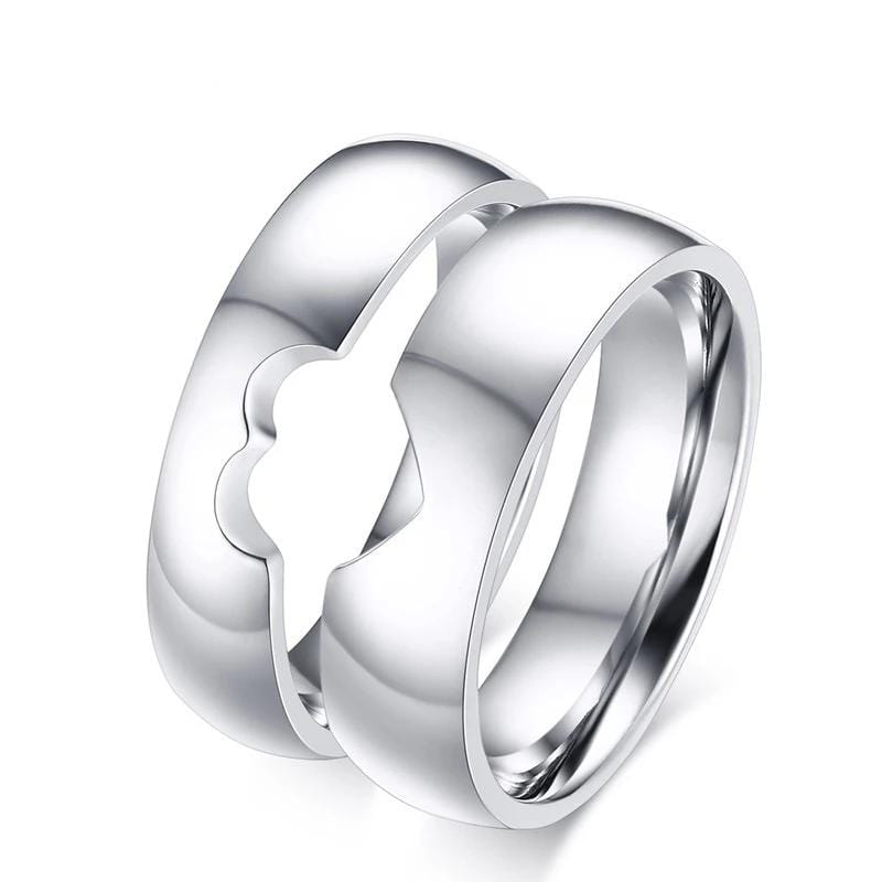 Special Hollow Matching Heart Puzzle Titanium Steel Couple Rings