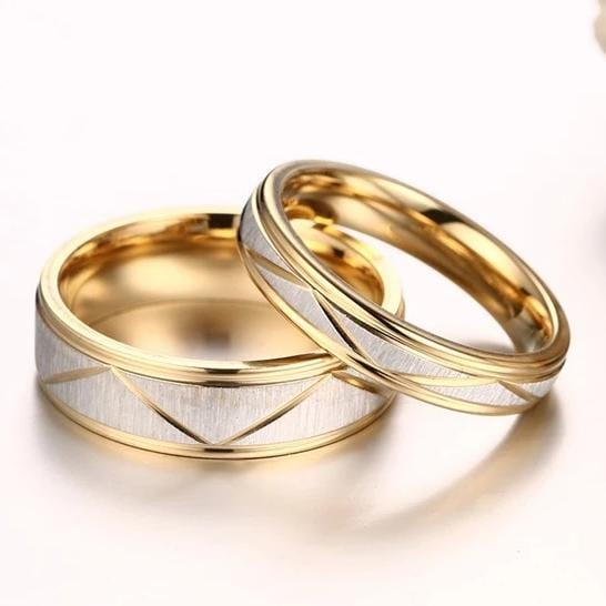 Diamond Pattern Gold Plated Stainless Steel Couple Rings