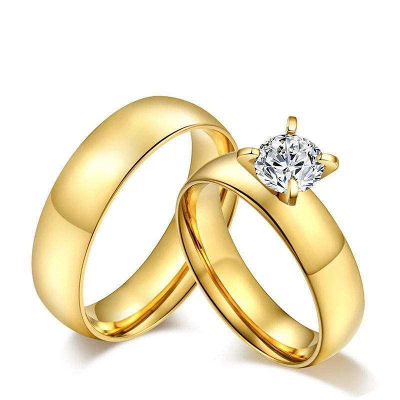 Couple's 6mm Engravable Promise Engagement Rings in Stainless Steel with Gold IP