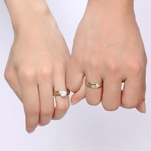 Round Cut Gemstone Yellow Gold Plated Stainless Steel Engagement Promise Rings for Couples