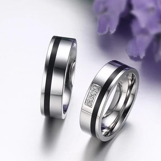 Black Enamel Round Cut Gemstones Promise Rings for Couples
