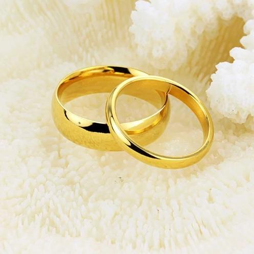 Yellow Gold Stainless Steel Couple Rings