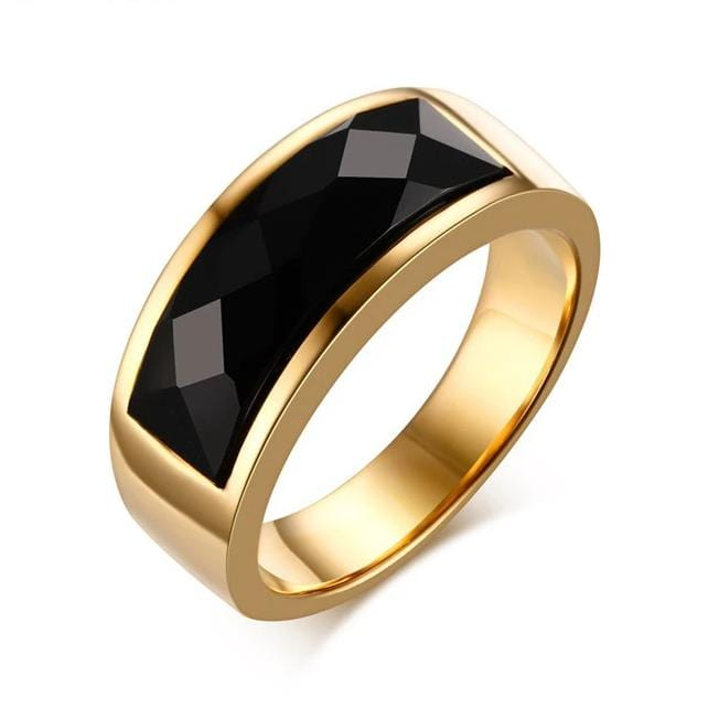 Men's 8.0mm Engravable Yellow Gold IP Stainless Steel with Black Agate Inlay