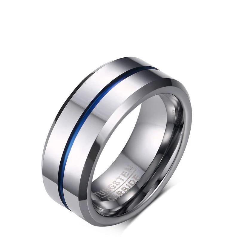 Men's 8.0mm Engravable Center Stripe Wedding Band in Tungsten (Blue/Black)