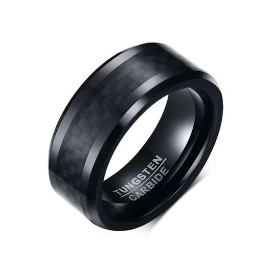 Men's 8.0mm Checkered Pattern Band in Black IP tungsten and Carbon Fiber