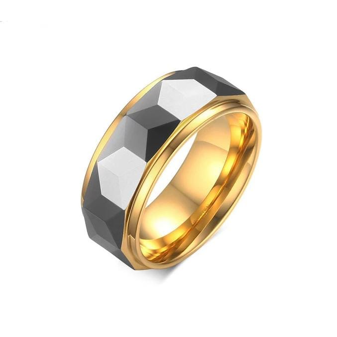 Men's 8.0mm Engravable Spiked Two-Tone Wedding Band in Tungsten