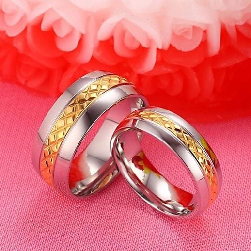 Yellow Gold & Silver Two-tone Stainless Steel Promise Rings for Couples