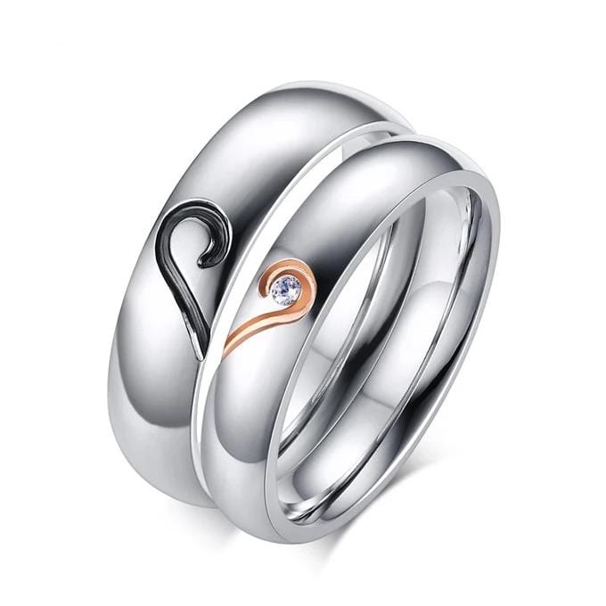 Adorable Rose Gold and Black Matching Heart Stainless Steel Couple Rings