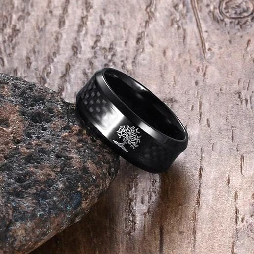 Lucky Tree Black Carbon Fiber Material Stainless Steel Ring for Him