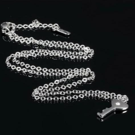 Matching Heart Key Necklace and Cross Lock Chain Bracelets for Couples