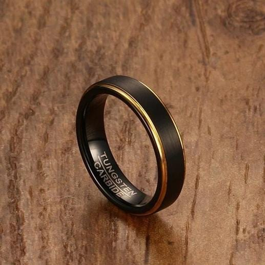 Men's 5.0mm Engravable Brushed Gold Edge Wedding Band in Tungsten with Black IP
