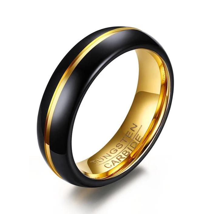 Royal Style Black and Gold Plated Tungsten Ring for Him