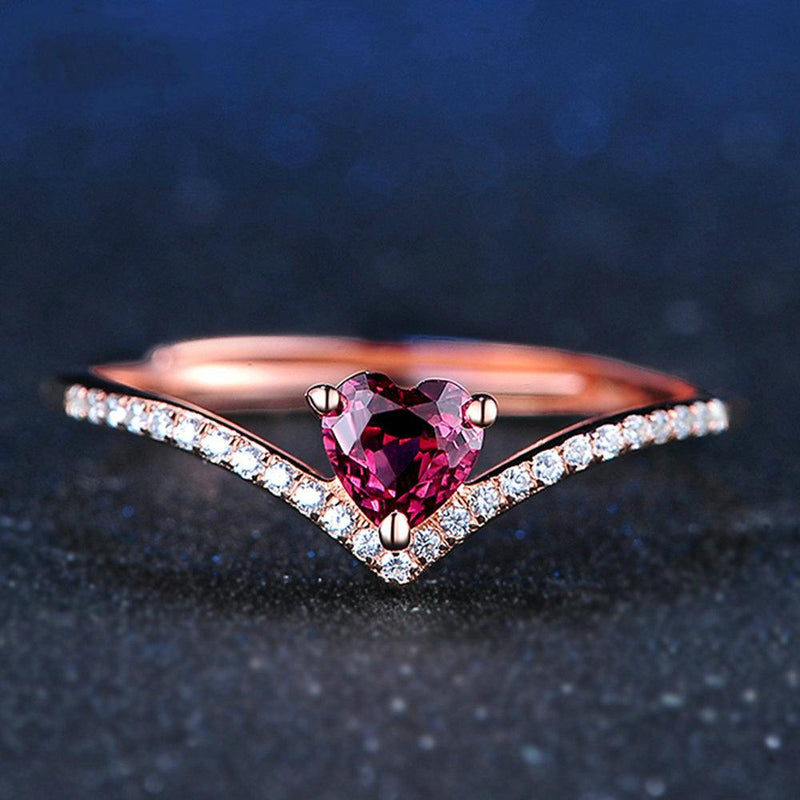 Heart-Shaped Red Garnet and White Diamond Chevron Adjustable Promise Ring in Sterling Silver