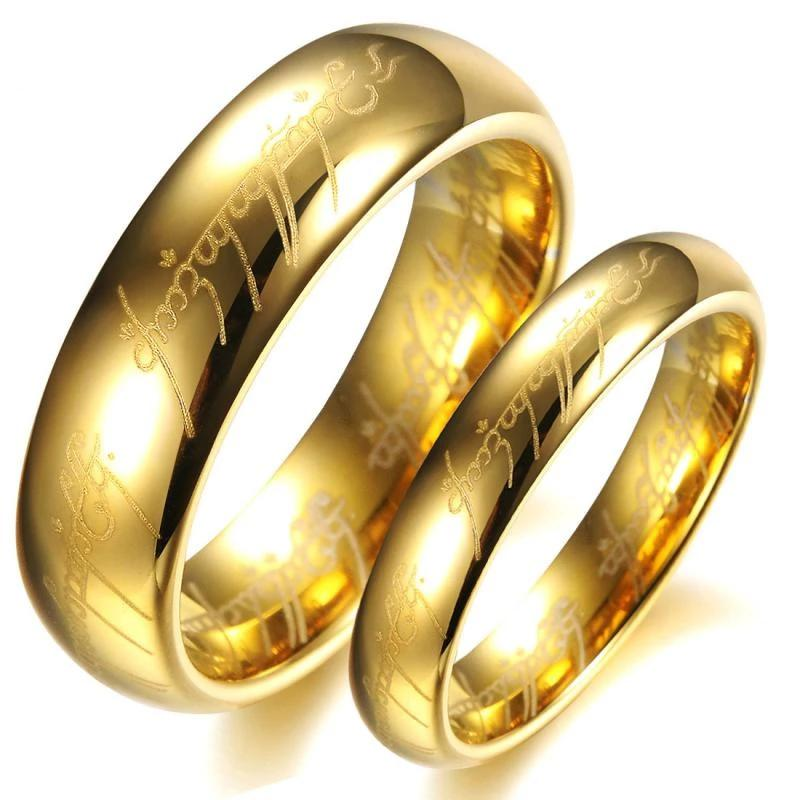 The Lord Of The Rings Yellow Gold Plated Tungsten Steel Couple Rings