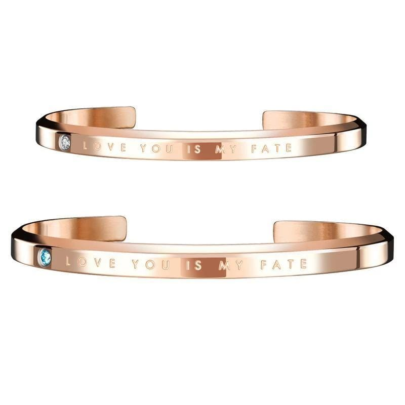 'Love You Is My Fate' Unisex Cuff Bracelets for Couples