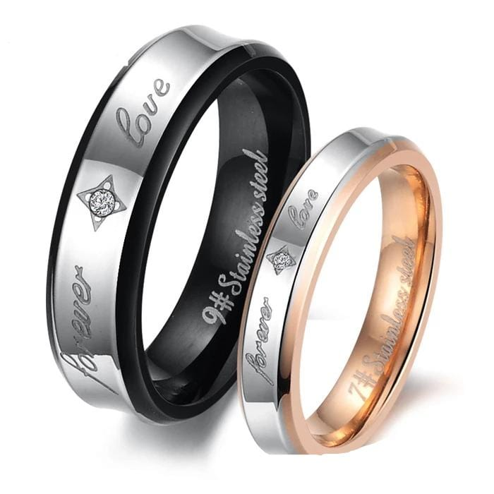 Forever Love Black and Rose Gold Couple Rings