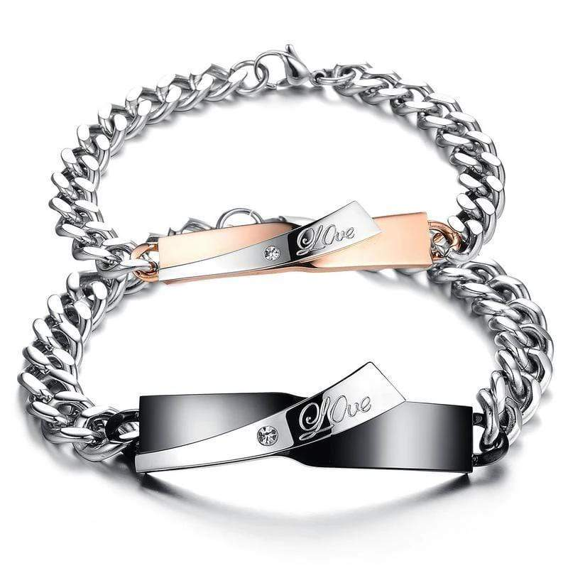 CZ Diamond 'Love' Two-Tone Chain Bracelets for Couples