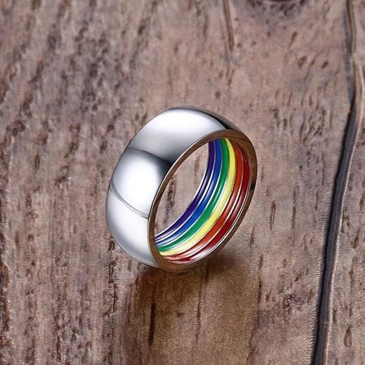 Unique LGBTQ Pride Inside Enamel Rainbow Flag Stainless Steel Ring